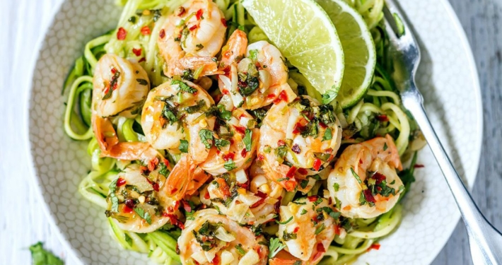Cilantro Lime Shrimp ZucchiniNoodles