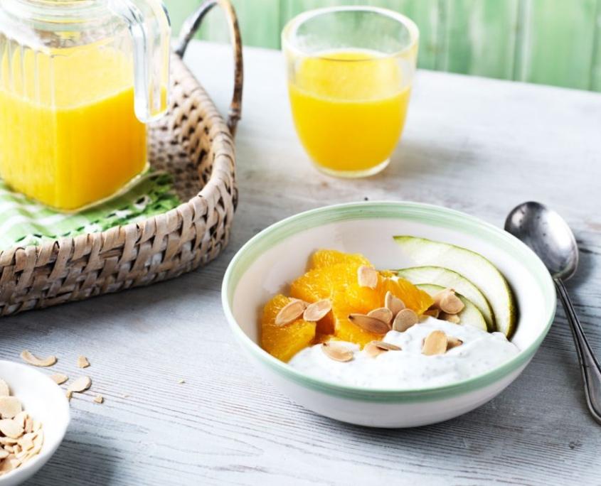 blood orange pear almonds with yogurt
