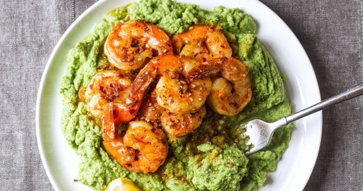 Spicy Shrimp Garlic Parmesan Broccoli Mash